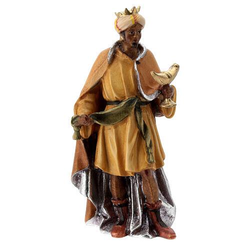 Re Magio moro presepe Raffaello 12 cm Val Gardena dipinto 3