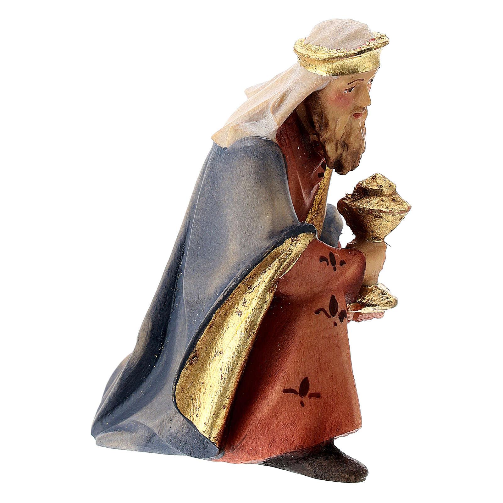 Re Magio in ginocchio presepe Raffaello 12 cm Val Gardena dipinto 4