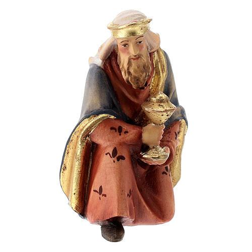 Re Magio in ginocchio presepe Raffaello 12 cm Val Gardena dipinto 1