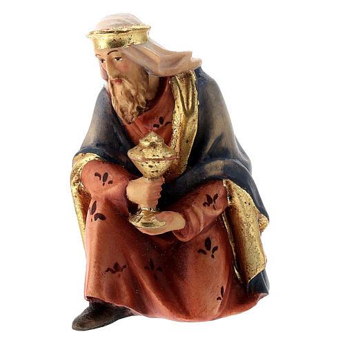 Re Magio in ginocchio presepe Raffaello 12 cm Val Gardena dipinto 2
