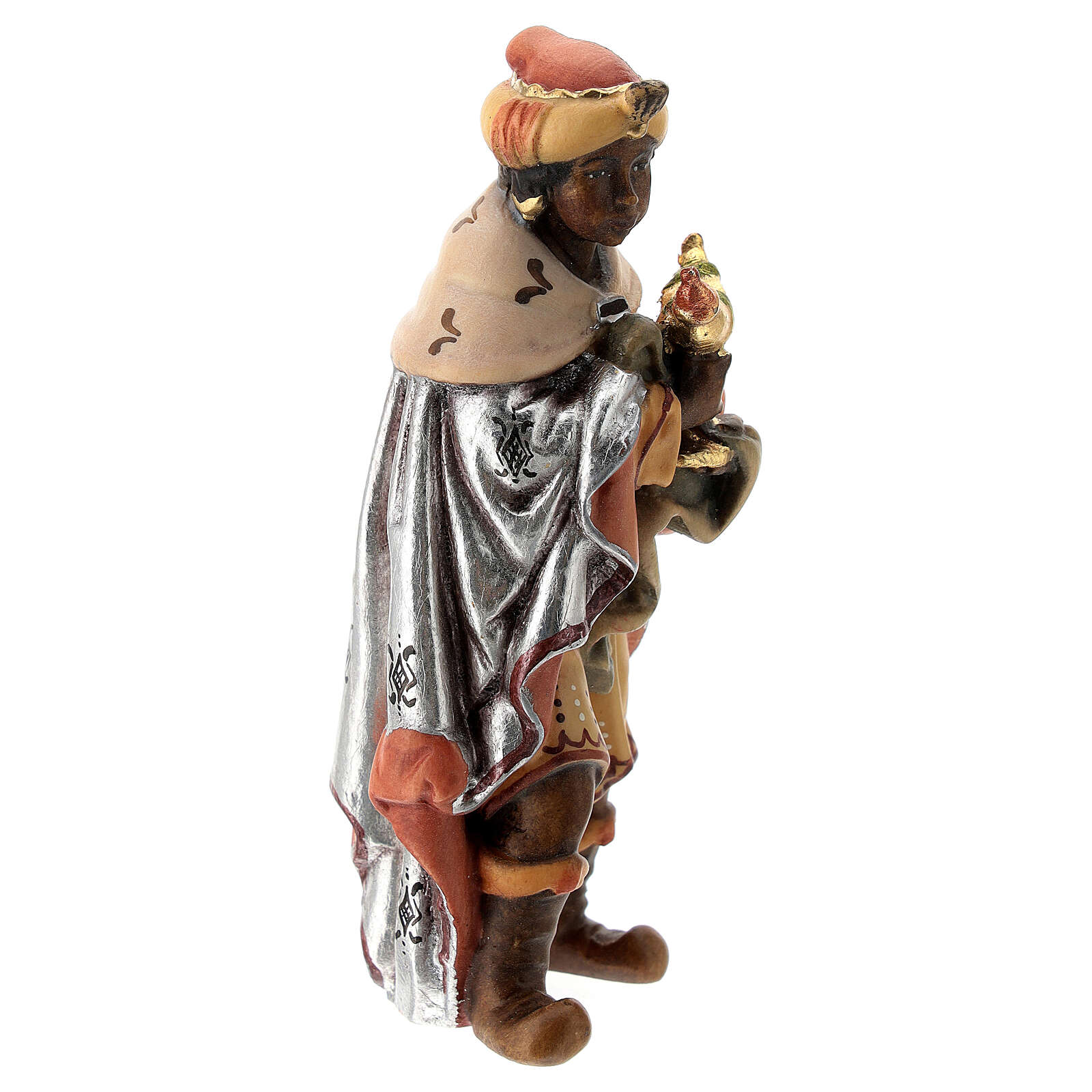 Re Magio moro presepe Matteo Val Gardena 12 cm legno 4