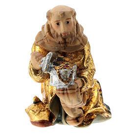 Re Magio ginocchio presepe Matteo Val Gardena 12 cm legno s1