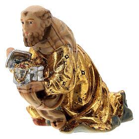 Re Magio ginocchio presepe Matteo Val Gardena 12 cm legno s2