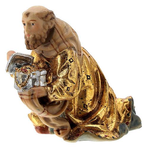 Re Magio ginocchio presepe Matteo Val Gardena 12 cm legno 2
