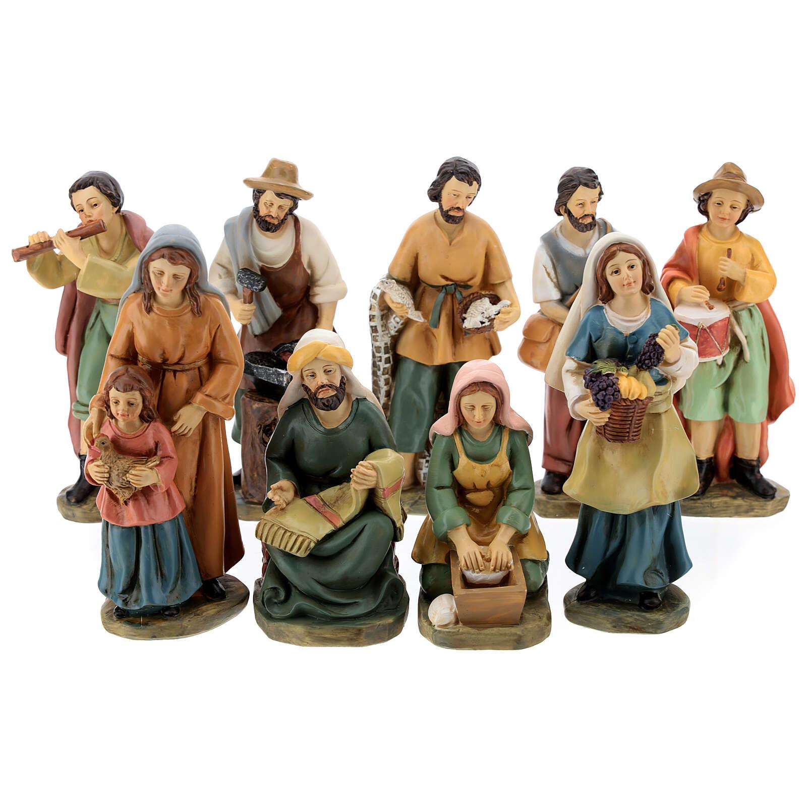 Set 9 personaggi presepe resina 15 cm 4