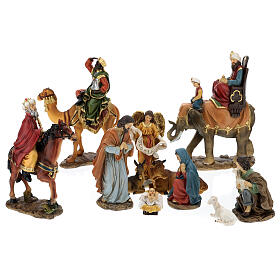 Set 9 personaggi presepe resina 15 cm s8