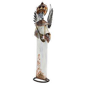 Anjo branco com bandolim madeira e metal para presépio com figuras altura média 60 cm s2