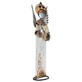Anjo branco com bandolim madeira e metal para presépio com figuras altura média 60 cm s3