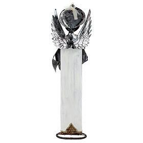 Anjo branco com bandolim madeira e metal para presépio com figuras altura média 60 cm s4