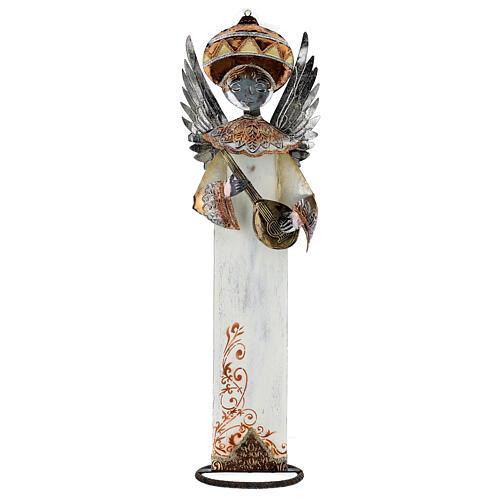 Anjo branco com bandolim madeira e metal para presépio com figuras altura média 60 cm 1
