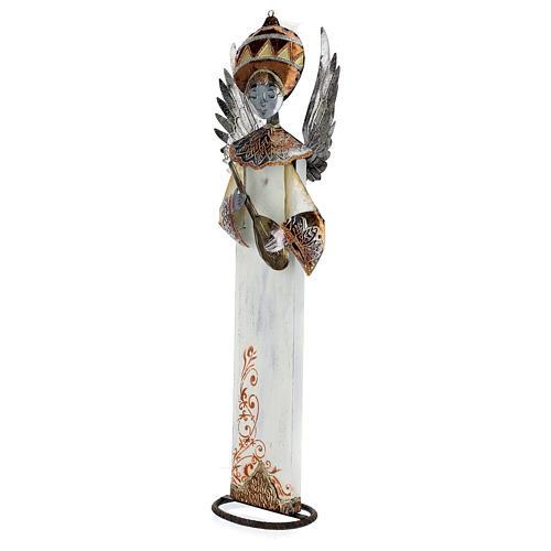 Anjo branco com bandolim madeira e metal para presépio com figuras altura média 60 cm 2