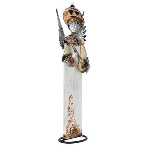 Anjo branco com bandolim madeira e metal para presépio com figuras altura média 60 cm 3