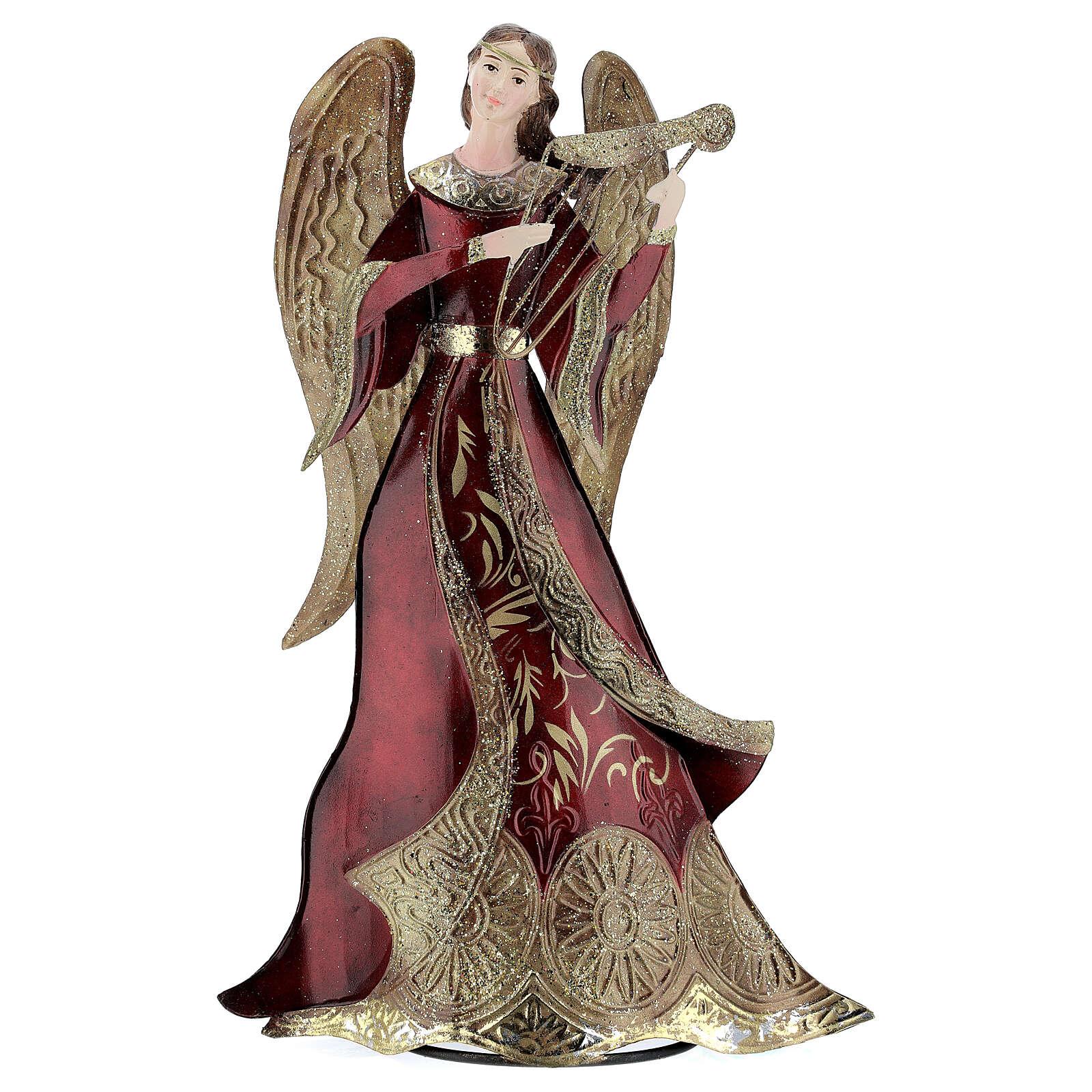 Anjo vermelho com harpa metal, para presépio com figuras altura média 30 cm 4