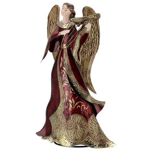 Anjo vermelho com harpa metal, para presépio com figuras altura média 30 cm 2