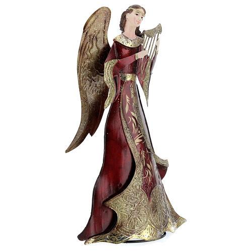 Anjo vermelho com harpa metal, para presépio com figuras altura média 30 cm 3