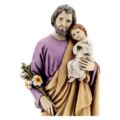 Estatua San José con Cristo resina 15 cm interior
