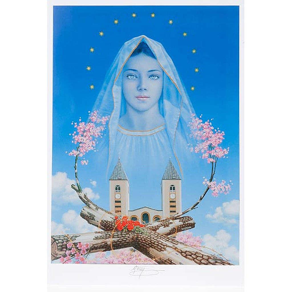 Druck Madonna von Medjugorje mit Kirche und Blumen 4