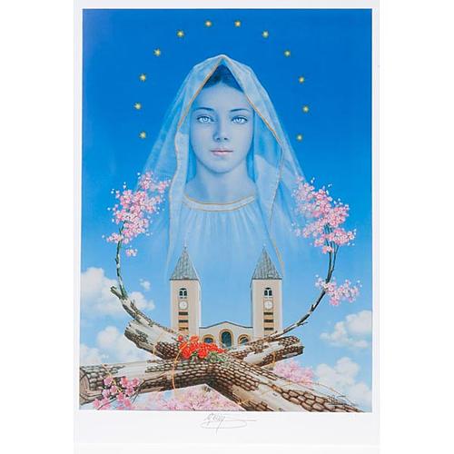 Druck Madonna von Medjugorje mit Kirche und Blumen 1