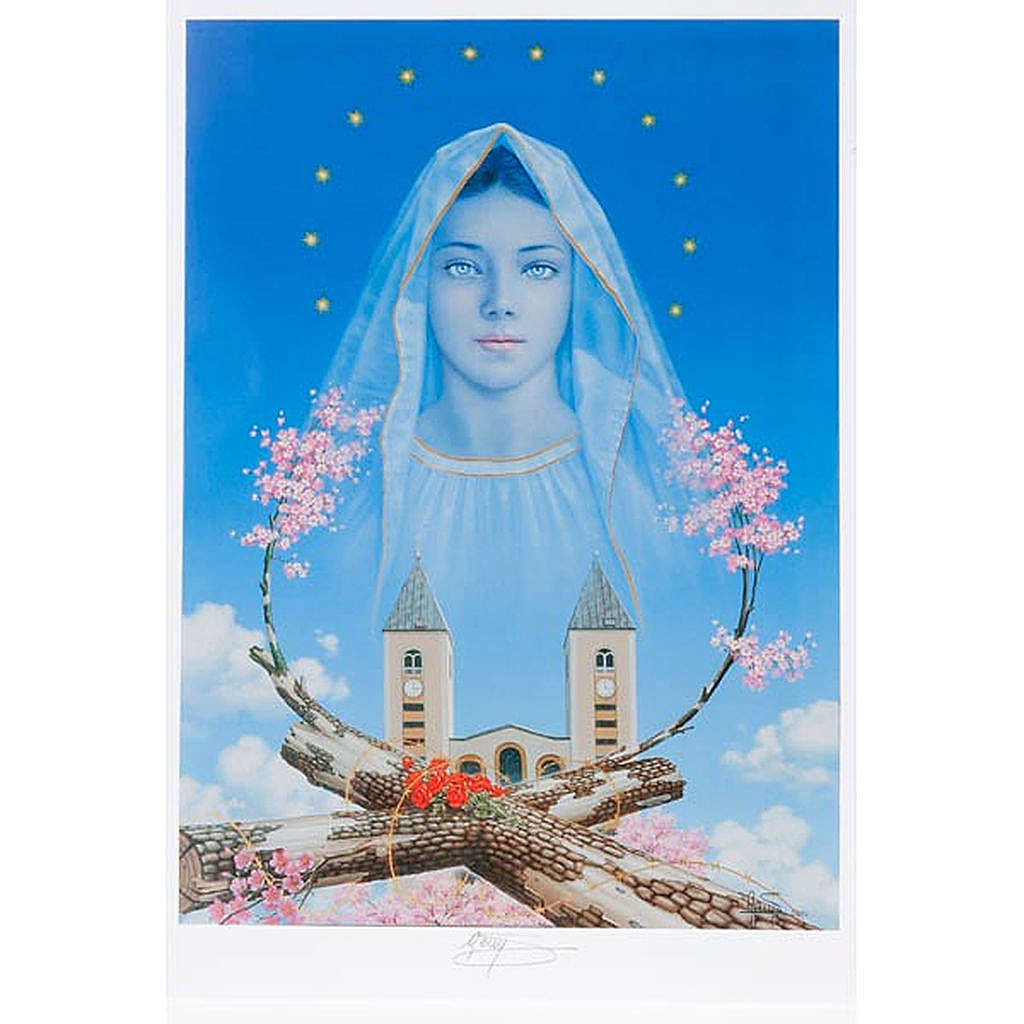 Lithography print, Our Lady of Medjugorje, church flowers 4