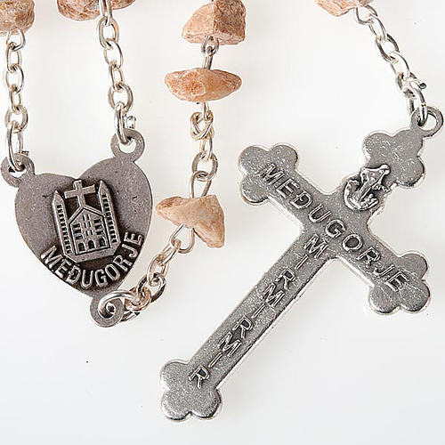 Rosary with grains in red stone with Our Lady of Medjugorje 2