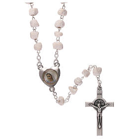 Rosary with grains in white stone with Our Lady of Medjugorje s1