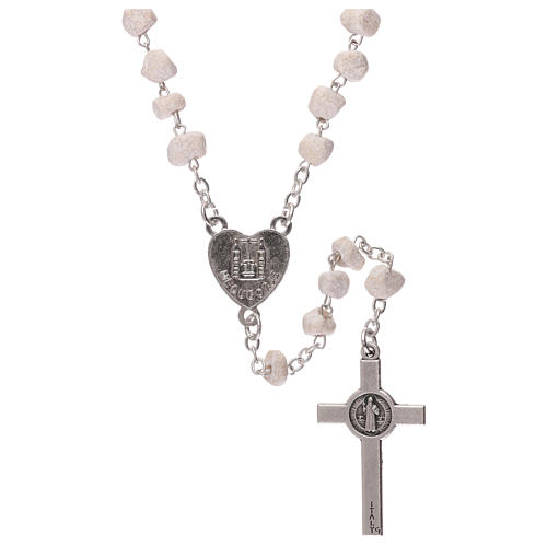 Rosary with grains in white stone with Our Lady of Medjugorje 2