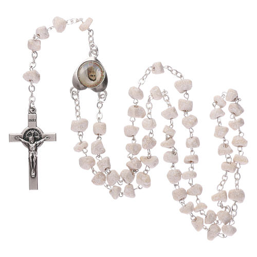 Rosary with grains in white stone with Our Lady of Medjugorje 4