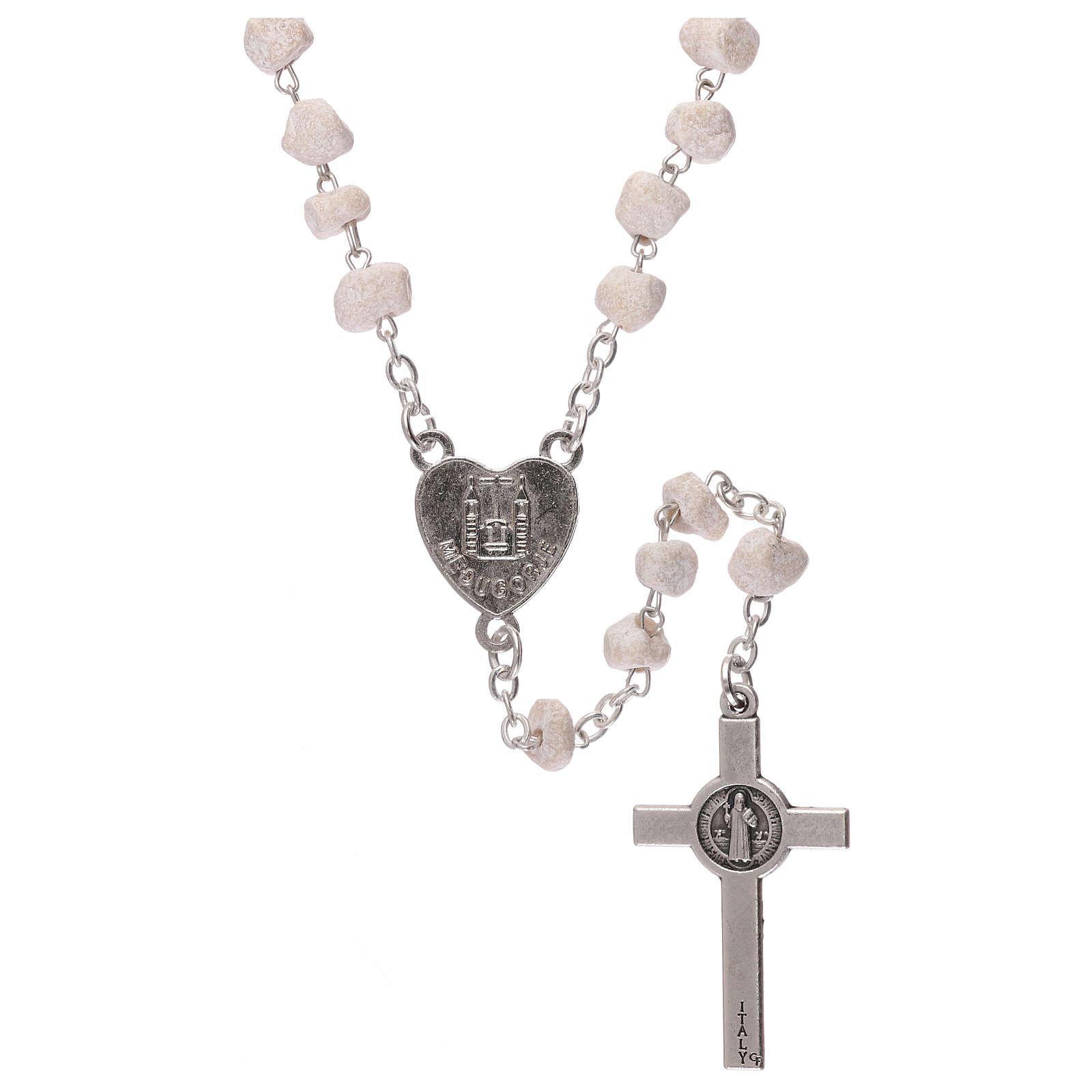 Różaniec Madonna z Medjugorje kamień biały 4