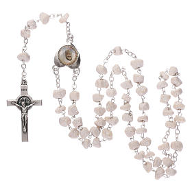 Rosary with grains in white stone with Our Lady of Medjugorje s4