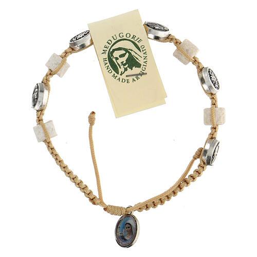 Medjugorje bracelet, cord, medal, stone 1