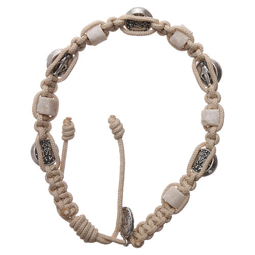 Bracciale Medjugorje corda medaglia pietra 2