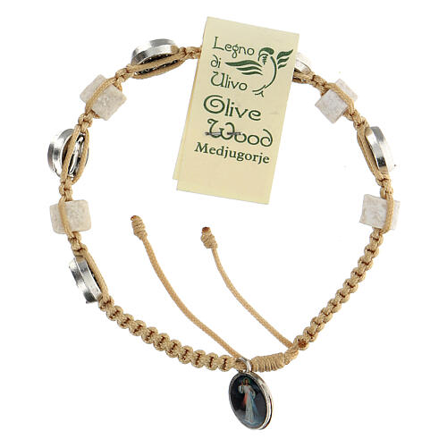 Medjugorje bracelet, cord, medal, stone 2