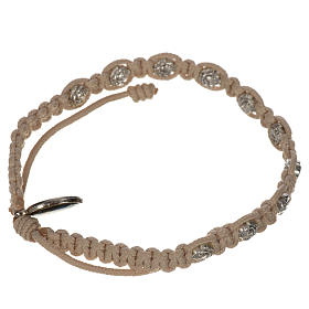 Bracelet in cord with roses, single-decade s10