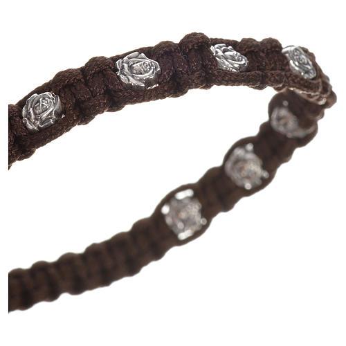 Bracelet in cord with roses, single-decade 2