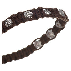 Bracelet in cord with roses, single-decade s8