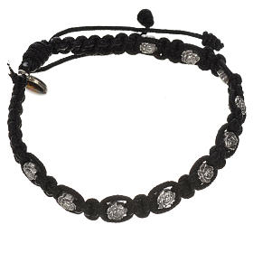 Bracelet in cord with roses, single-decade s5
