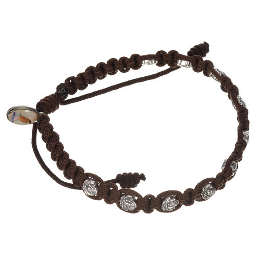 Bracelet in cord with roses, single-decade 9