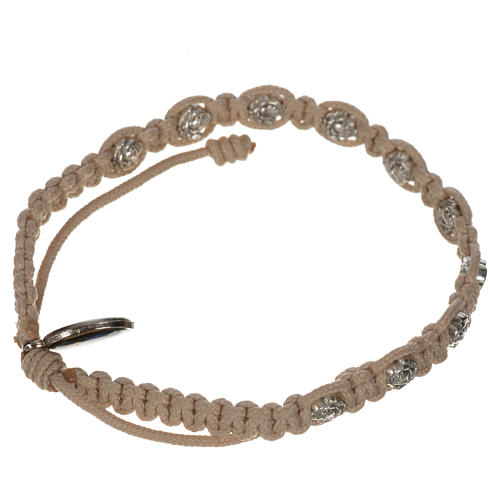 Bracelet in cord with roses, single-decade 10