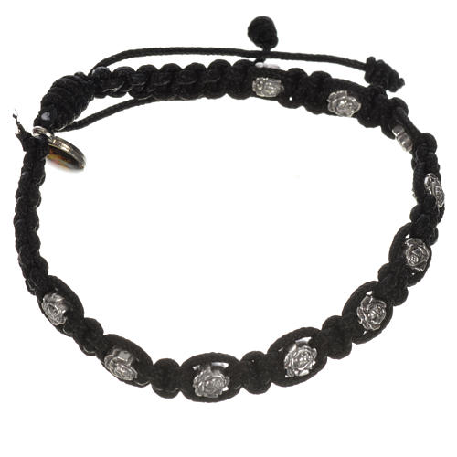 Bracelet in cord with roses, single-decade 11