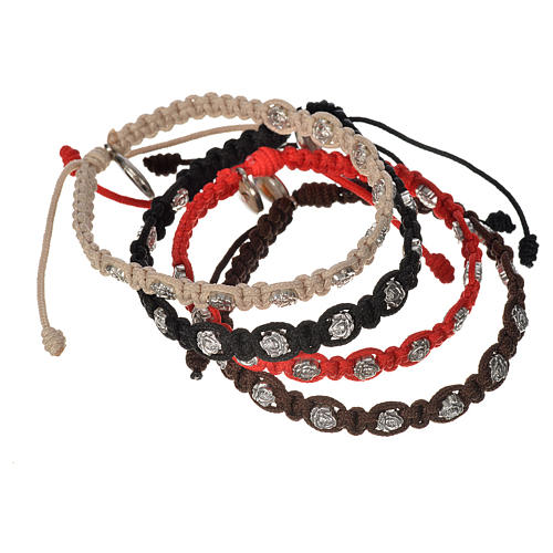 Bracelet in cord with roses, single-decade 1