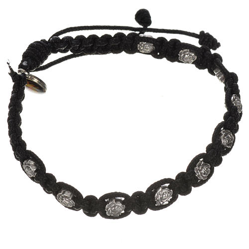 Bracelet in cord with roses, single-decade 5