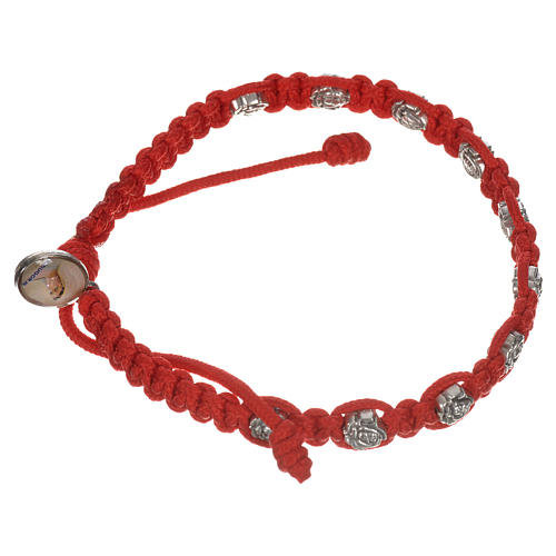 Bracelet in cord with roses, single-decade 6