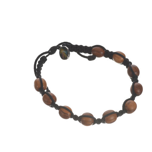 Bracelet in cord and olive wood grains 9mm 10