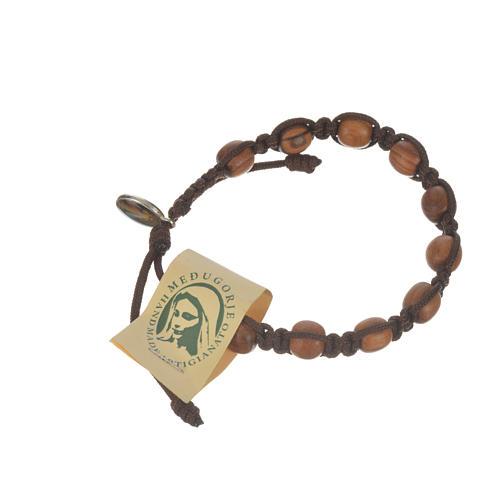 Bracelet perles en bois d'olivier 9 mm sur corde 8