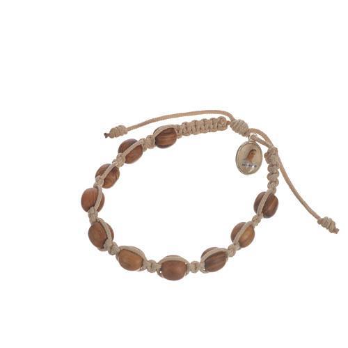 Bracelet perles en bois d'olivier 9 mm sur corde 9
