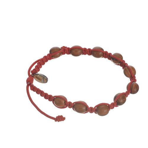Bracelet perles en bois d'olivier 9 mm sur corde 11