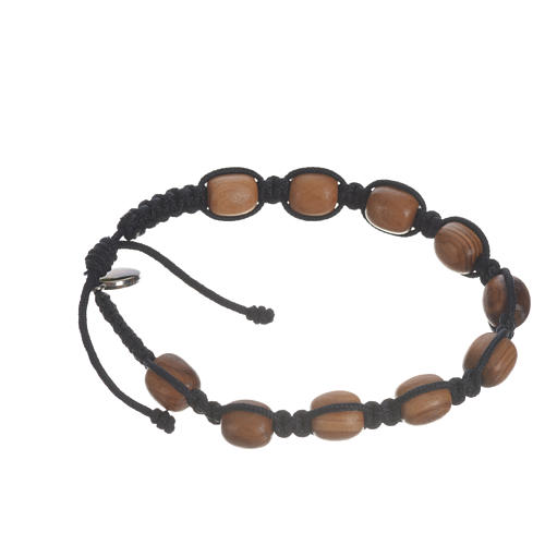 Bracelet perles en bois d'olivier 9 mm sur corde 12