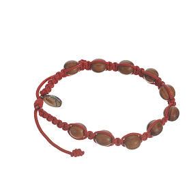 Bransoletka ze sznurka koraliki drewno oliwne 9 mm s5