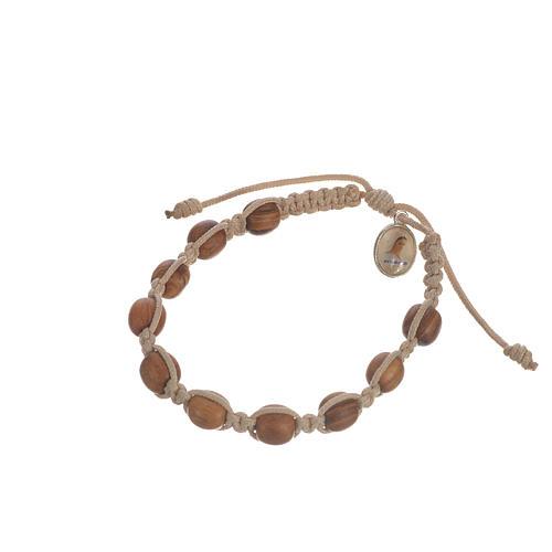 Bransoletka ze sznurka koraliki drewno oliwne 9 mm 3