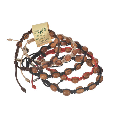 Bracelet in cord and olive wood grains 9mm 7